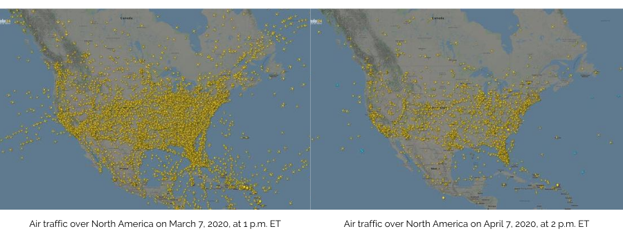 Air Traffic Over North America