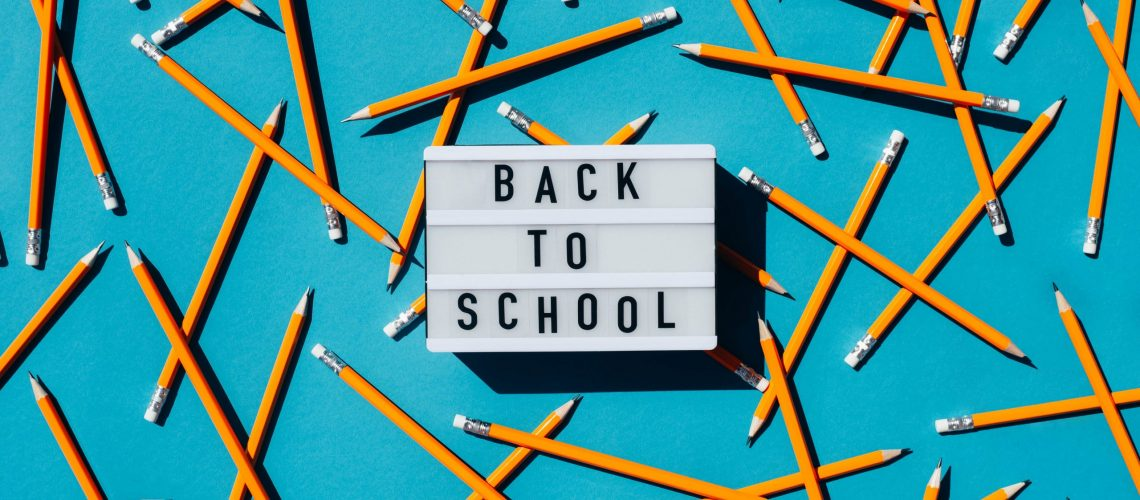 Background with simple pencils and the inscription back to school. School background.